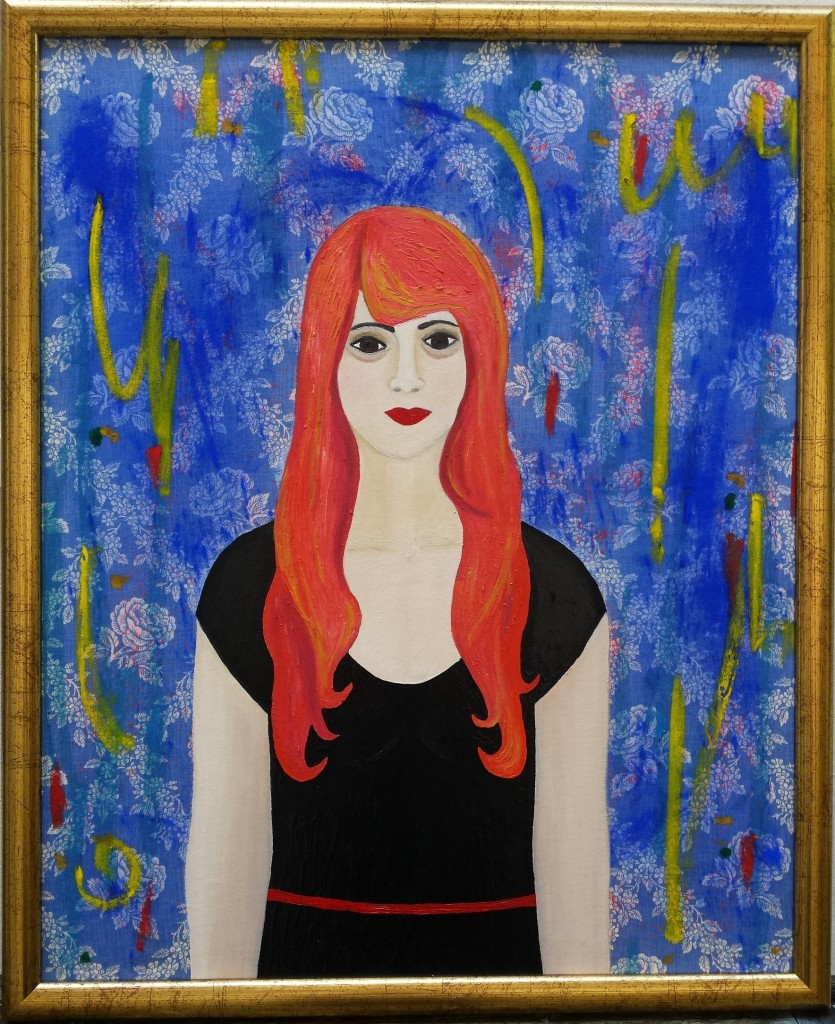 Girl with the pink hair, 66.5cm x 81cm, framed, 2014